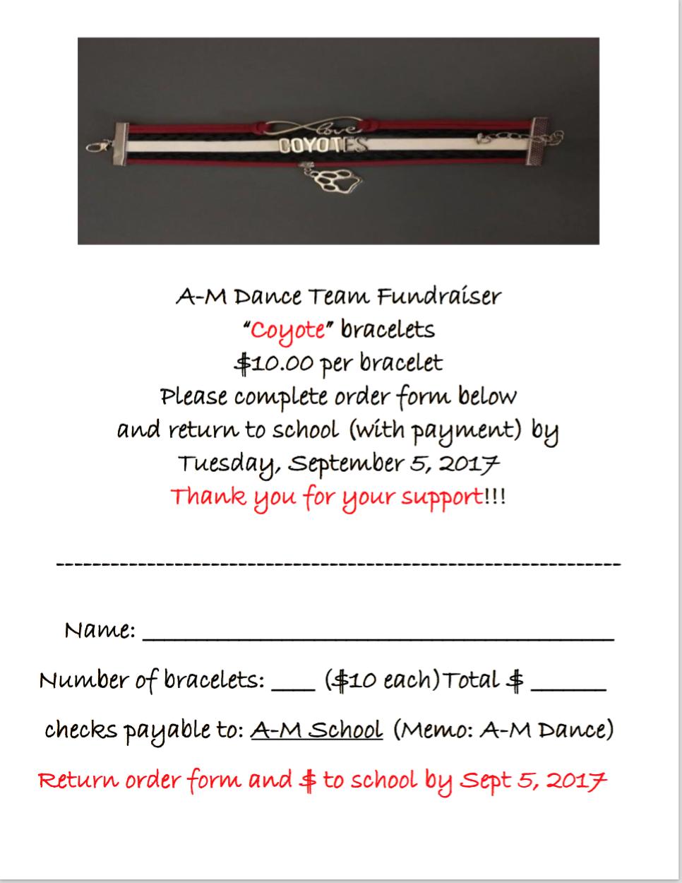 Dance Team Bracelet Fundraiser